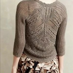 Anthro Angel of the North Brown Open Knit Cardigan